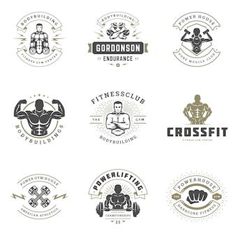 Fitness centrum en sportgymnastiekemblemen en kentekensontwerp vastgestelde vectorillustratie.