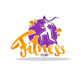 Fitness club logo, vector vrouw sport met belettering samenstelling
