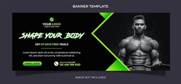 Fitness concept social media bannerontwerp en instagram postsjabloon voor lichaamsbeweging en gymtraining
