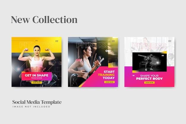 Fitness concept social media postsjabloon