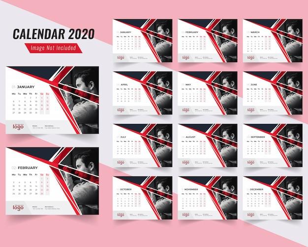 Fitness desk kalendersjabloon 2020