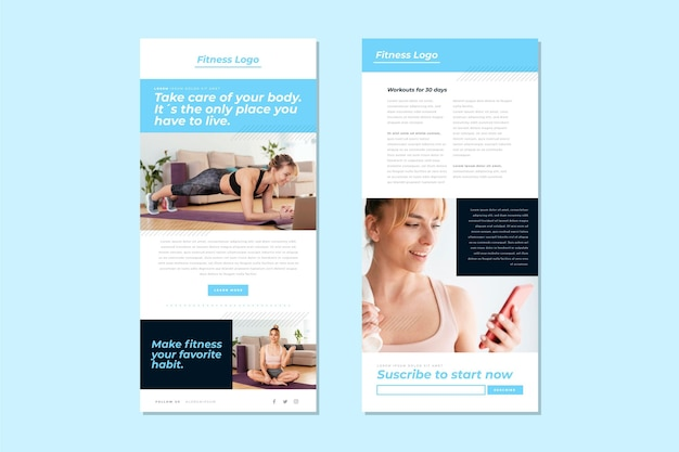 Fitness e-mailsjabloon