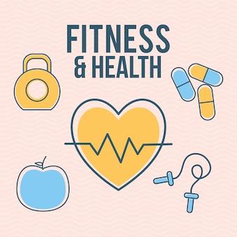 Fitness en gezondheid belettering met set van pictogrammen voor fitness en gezondheid