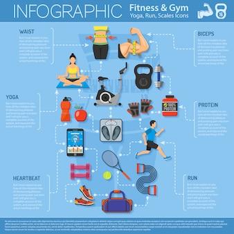 Fitness en gym infographics