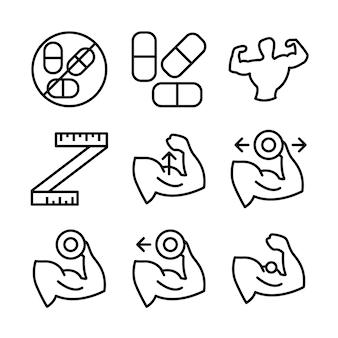 Fitness en sport pictogrammen instellen. gezonde levensstijl symbolen.