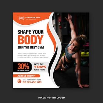 Fitness en sportschool instagram post en vierkante flyer ontwerpsjabloon