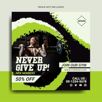 Fitness en sportschool social media post banner flayer sjabloon