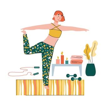 Fitness en yoga-sessie thuis illustratie