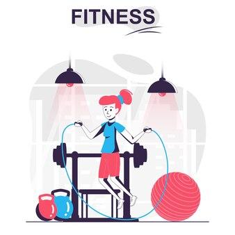 Fitness geïsoleerde cartoon concept vrouw touwtje springen en oefenen in de sportschool sport workout