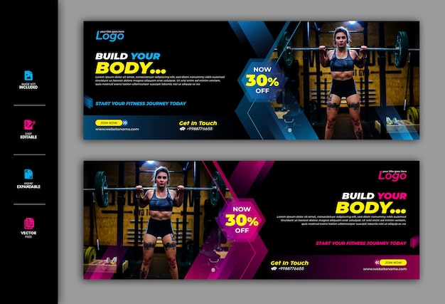 Fitness gym banner sjabloon premium vector