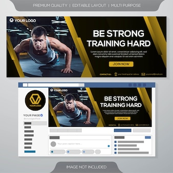 Fitness gym facebook voorbladsjabloon
