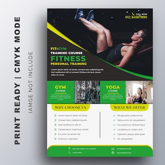 Fitness gym flyer ontwerpsjabloon
