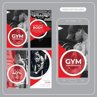 Fitness gym instagram-bannersjablonen