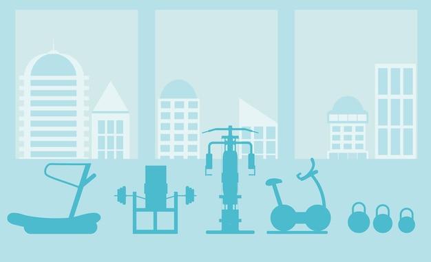 Fitness gym interieur sjabloon met sportuitrusting en cardio-apparatuur, hometrainer, loopbanden, elliptische trainers,. fitnessconcept met sportclub in vlakke stijl. blauw silhouet.