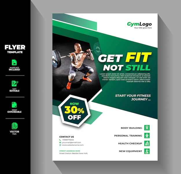 Fitness gym oefening workout training flyer brochure template
