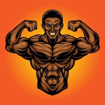 Fitness gym power vector illustraties voor uw werk logo, mascotte merchandise t-shirt, stickers en labelontwerpen, poster, wenskaarten reclame bedrijf of merken.