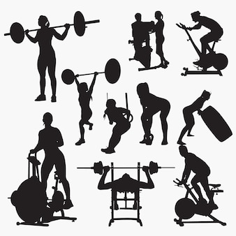 Fitness gym silhouetten