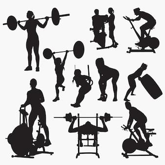 Fitness gym silhouetten