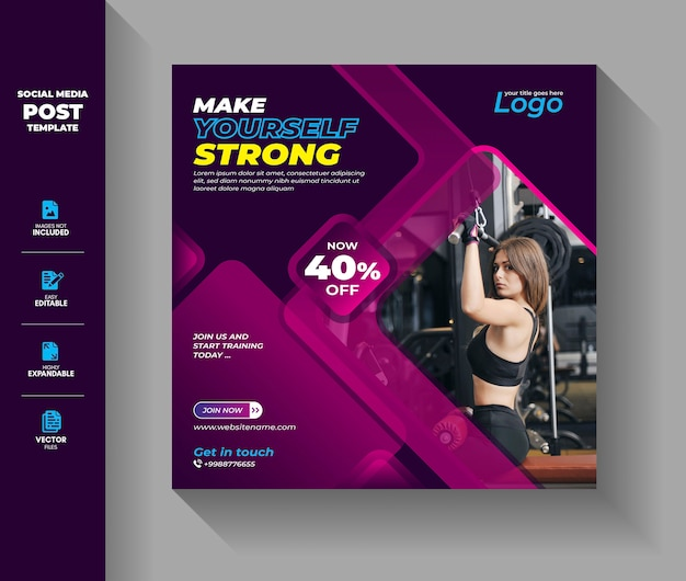 Fitness gym social media post-sjabloon