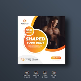 Fitness gym sociale media banner