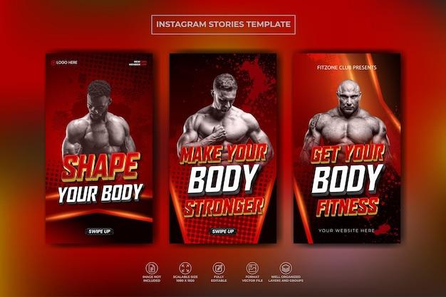 Fitness gym training instagram verhalenverzameling en webbannersjabloon premium vector