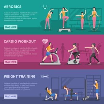 Fitness gym trainingsbanners