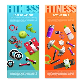 Fitness gym verticale banners set