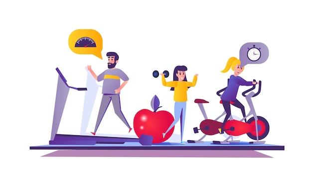 Fitness gym webconcept in cartoon stijl