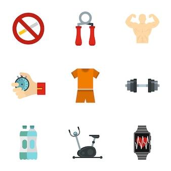 Fitness icon set, vlakke stijl