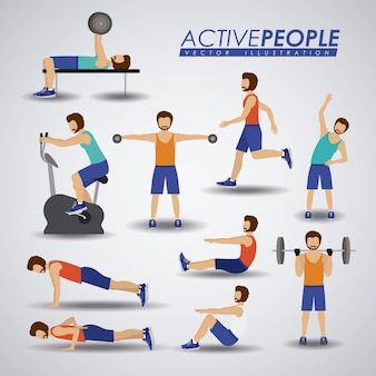 Fitness illustratie.