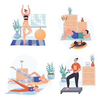 Fitness illustraties set