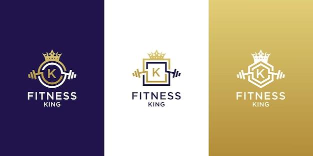 Fitness king frame-logo met letter k-ontwerp