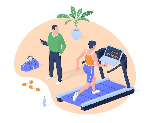 Fitness klasse cardio machine realistische isometrie. vrouwelijk karakter op de loopband verhoogt het looptempo. mannelijke trainer met tablet bewaakt staatslichaam