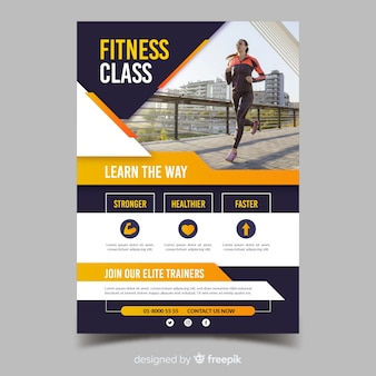 Fitness klasse sport sjabloon folder