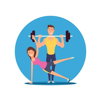 Fitness leuke persoon vector stripfiguren. platte sport motivatie illustratie