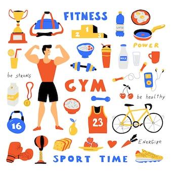 Fitness levensstijl, schattige doodle set met letters. grappige cartoon sterke man. gezond eten. hand getrokken vlakke afbeelding.