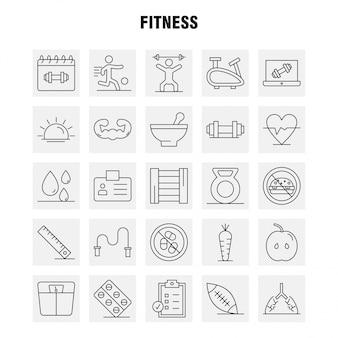 Fitness lijn icons set