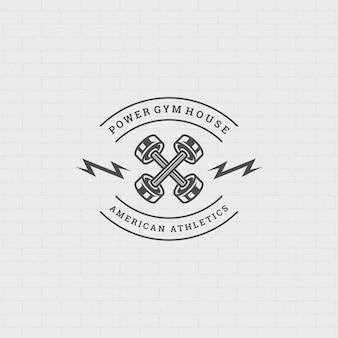 Fitness logo of badge illustratie twee gekruiste halters sportuitrusting symbool silhouet