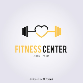 Fitness logo sjabloon vlakke stijl