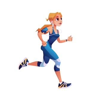 Fitness lopend meisje met muziekspeler geïsoleerd cartoon stijl karakter vector schattige vrouw ontwerp voor