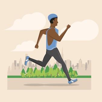 Fitness man loopt