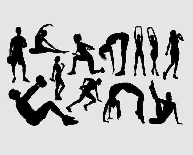 Fitness mannelijke en vrouwelijke mensen silhouet