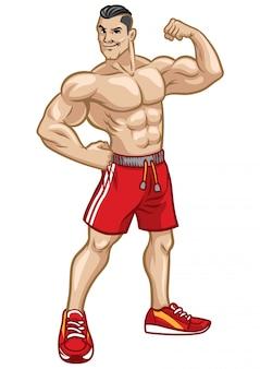 Fitness mannen poseren door zijn atletiek lichaam te tonen