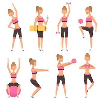 Fitness meisje. het vrouwelijke sportkarakter in diverse actie stelt in gymnastiek die cardiooefeningen maken