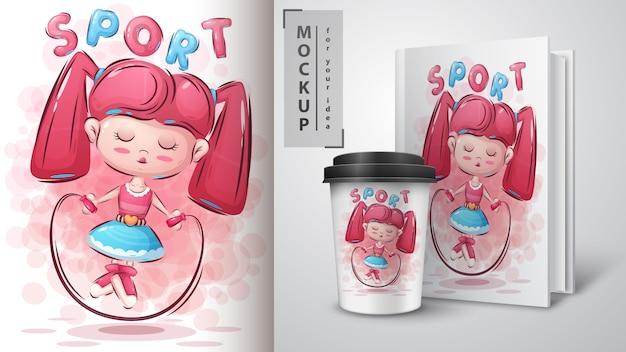 Fitness meisje illustratie en merchandising