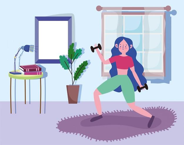 Fitness meisje met gewicht in de sportoefening van de ruimteactiviteit thuis