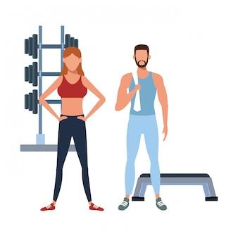 Fitness mensen die cartoon opleiden