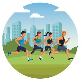 Fitness-mensen lopen