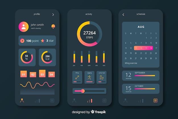Fitness mobiele app infographic sjabloon vlakke stijl