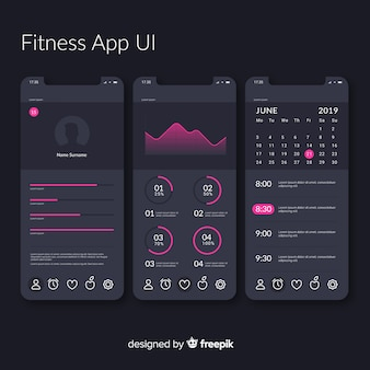 Fitness mobiele app infographic sjabloon